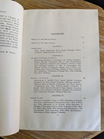Table of Contents page 1 of 7 - 1947 Water Supply and Sewerage by Ernest W. Steel - second Edition