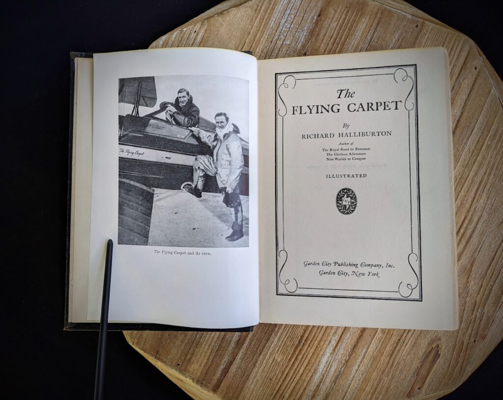 Title Page inside a 1932 copy of The Flying Carpet by Richard Halliburton - First Edition