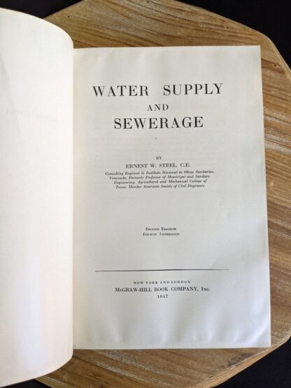 Title page inside a 1947 copy of Water Supply and Sewerage by Ernest W. Steel - second Edition