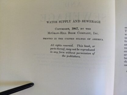 copyright inside a 1947 copy of Water Supply and Sewerage by Ernest W. Steel - second Edition