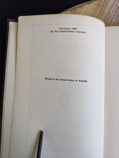 copyright page inside a 1932 copy of The Flying Carpet by Richard Halliburton - First Edition