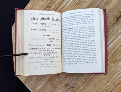 pages inside a 1910 circa copy of Stamp Collecting - A Guide for Beginners by A. B. Creeke