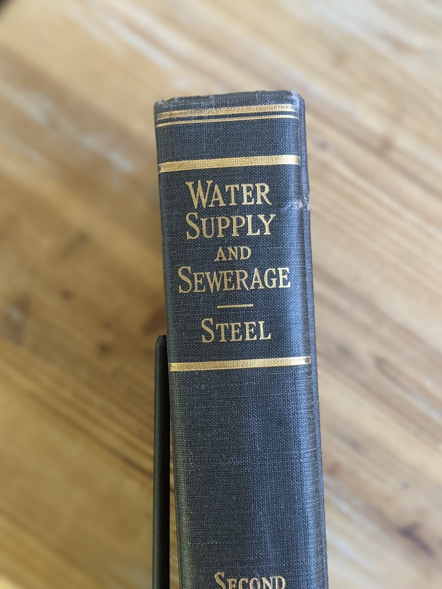 upper spine - 1947 Water Supply and Sewerage by Ernest W. Steel - second Edition