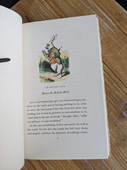 Chapter One inside a 1946 Alice's Adventures in Wonderland - Two Volumes - by Lewis Carroll. Published by Random House, New York - Special Edition- down the rabbit hole