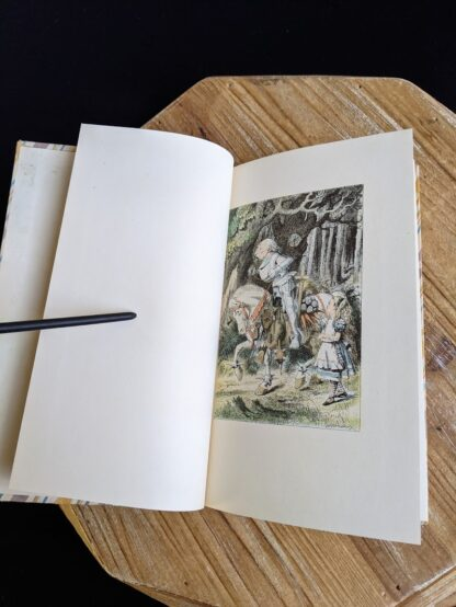 Colour illustration by John Tenniel on front freepaper - 1946 Through The Looking-Glass - Two Volumes - by Lewis Carroll. Published by Random House, New York - Special Edition