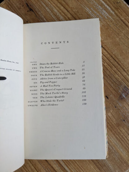 Contents page inside a 1946 Alice's Adventures in Wonderland - Two Volumes - by Lewis Carroll. Published by Random House, New York - Special Edition