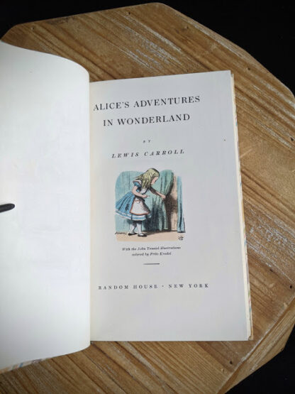 title page inside a 1946 Alice's Adventures in Wonderland- Two Volumes - by Lewis Carroll. Published by Random House, New York - Special Edition